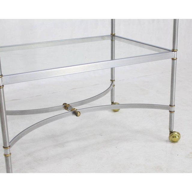 Mid Century Modern Two-Tier Brass Chrome Glass Rectangular Serving Bar Cart For Sale - Image 6 of 9