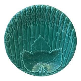 1930 Saint Amand Majolica Asparagus Plate With Leaf For Sale