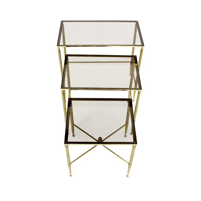 Solid Brass Smoked Glass Set of Three Nesting Stacking Tables For Sale