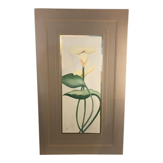 George Caso Calls Lily Watercolor Painting, Signed