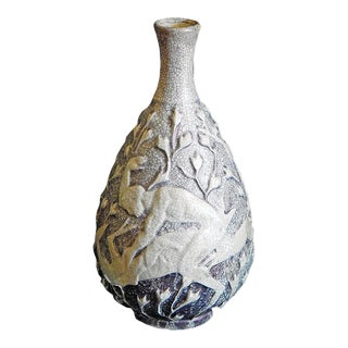 Nude Hunters with Deer' by Jean Mayodon (1893-1967 France) Ceramic Vase Circa 1930s For Sale