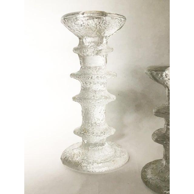 Timo Sarpaneva Ittala of Finland Timo Sarpeneva Glass Candle Holders - A Pair For Sale - Image 4 of 6