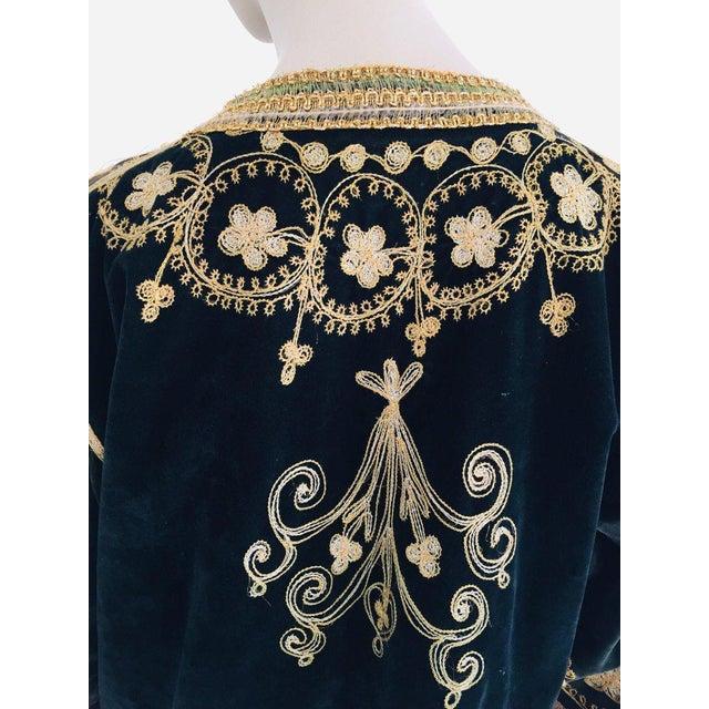 Black Vintage Caftan, Black Velvet and Gold Embroidered, 1960s For Sale - Image 8 of 13