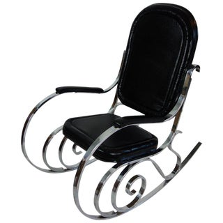 Maison Jansen Black Leather Rocking Chair For Sale