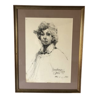 Free Hand Portrait Framed Woman 25x32 For Sale