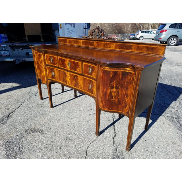 Gorgeous Edwardian reproduction of a 1790's design. Georgian motifs with urns and garlands inlaid in satinwood and curly...
