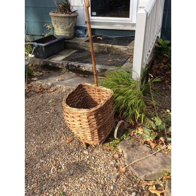 Vintage French Woven Shopping Cart on Wheels For Sale - Image 11 of 12