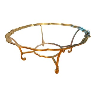 1980's Vintage Labarge Scalloped Top Brass & Glass Coffee Table For Sale