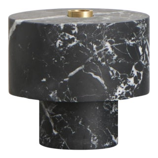 Modern Handcrafted Candle Holder in Italian Marble by Karen Chekerdjian For Sale