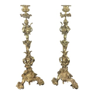 19th Century French Gilt Bronze Candelabras by Victor Raulin - a Pair For Sale