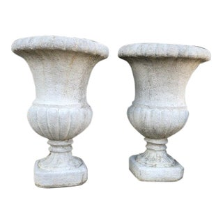 Lovely Vintage Matching Pair of Fluted Cement Garden Urns For Sale