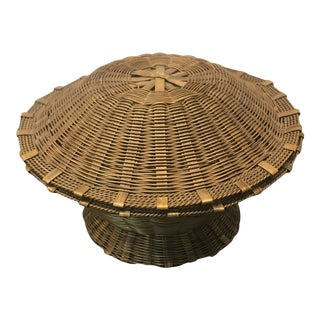 Vintage Miniature Woven Brass Covered Basket For Sale