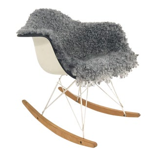 Vintage Charles and Ray Eames for Herman Miller Rar Rocking Chair Restored in Gotland Sheepskin