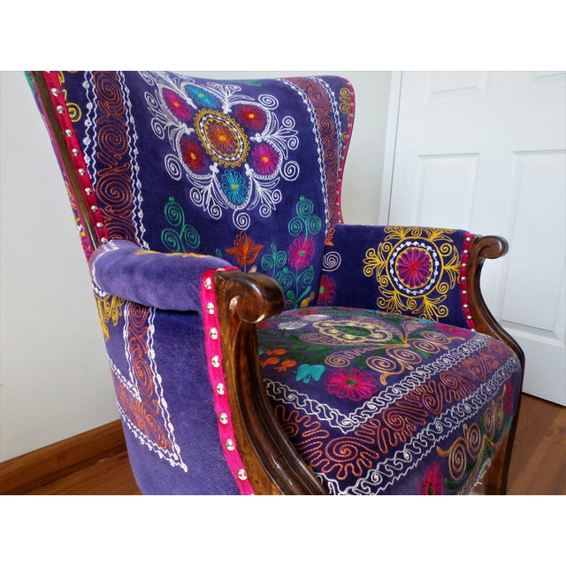 The Bohemian Chair Suzani Embroidery Bergere Style Blue