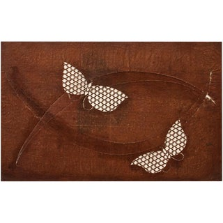 C.1850s Antique Edo Era Japanese Katagami Butterflies Stencil Art For Sale