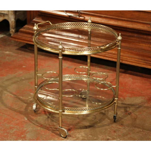 Early 20th Century French Two-Tier Brass Desert Table or Tea Cart on Wheels - Image 2 of 9