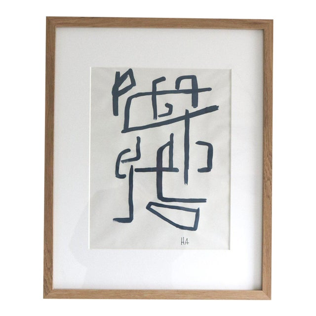 Indigo on Paper Study 3 Framed Painting For Sale