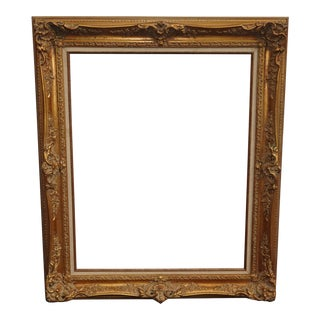 "Large 38""Tall Vintage French Provincial Gold Ornate Picture Frame Made in Mexico For Sale"