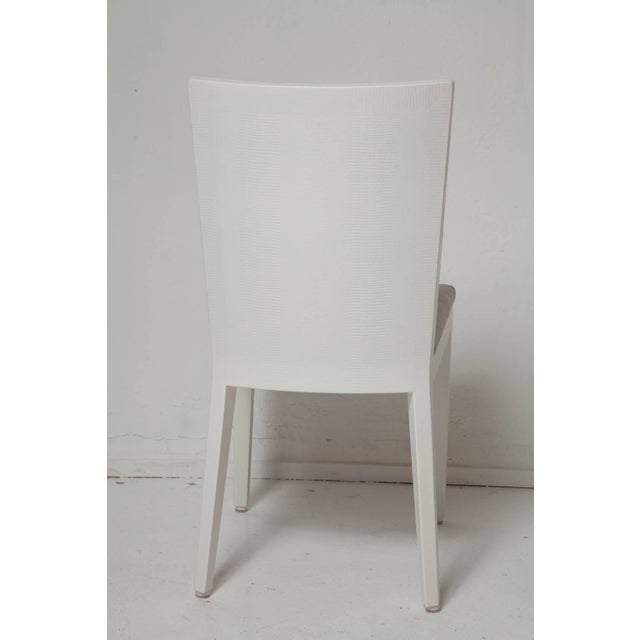 1980s Karl Springer Signed Lizard Embossed Leather Jmf Chairs - Set of 4 For Sale - Image 5 of 11