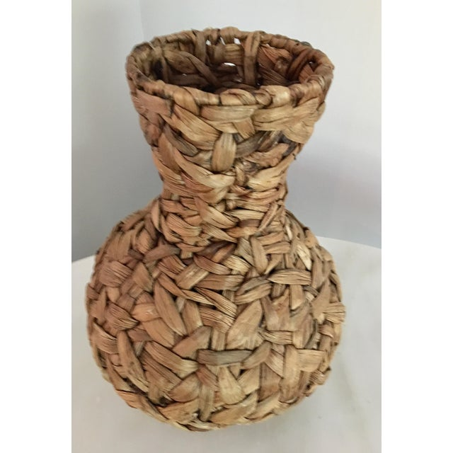 20th Century Boho Chic Hand Woven Banana Leaf Basket/Vase For Sale - Image 6 of 6