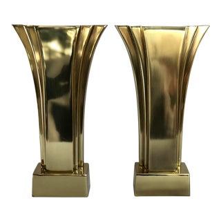 Vintage Art Deco Brass Stiffel Boudoir Lamps - a Pair