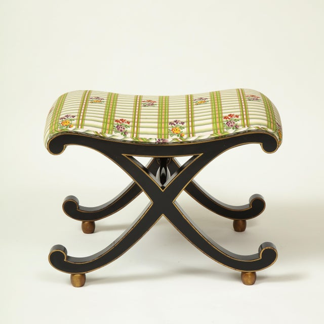 Black Colefax & Fowler Black and Gilt X-Form Bench For Sale - Image 8 of 8