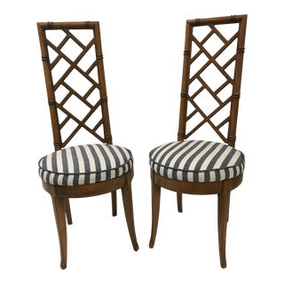 1960s Vintage Thomasville Faux Bamboo Chairs- A Pair For Sale