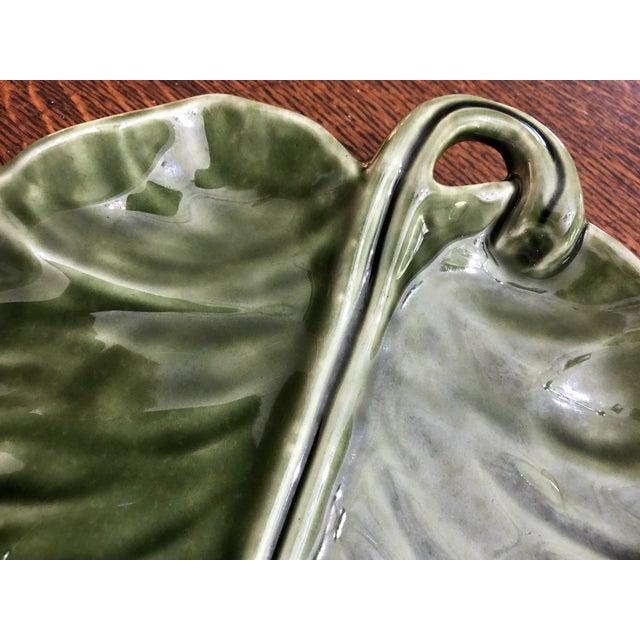 Art Deco 1970s Hollywood Regency Olfaire Pottery Leaf Platter For Sale - Image 3 of 7