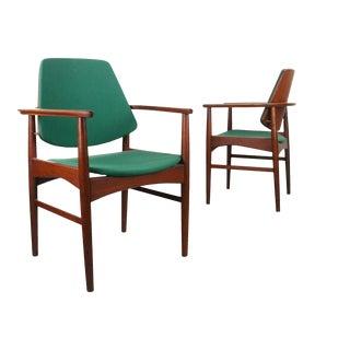 Set of Two (2) Danish Teak Accent Arm Chairs, Arne Hovmand-Olsen, Denmark For Sale