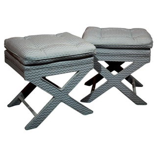 Mid-Century Modern X Benches - A Pair