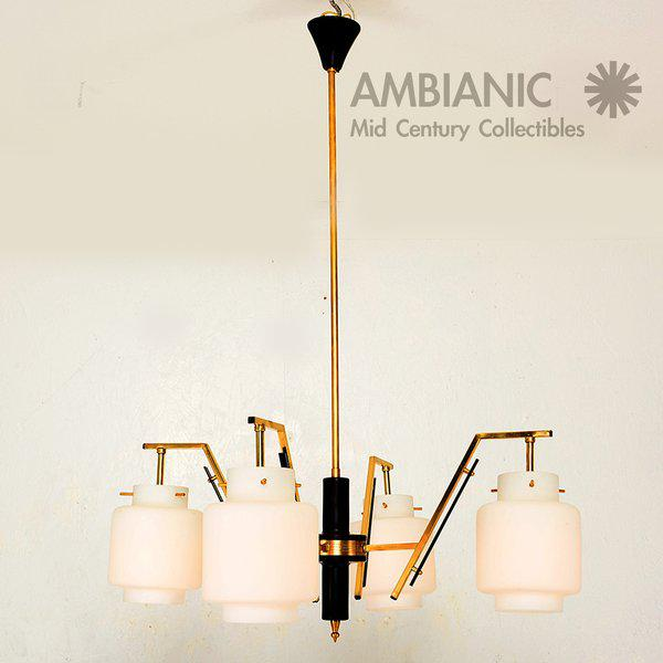 Gold Italian Chandelier With Opaline Shades For Sale - Image 8 of 8