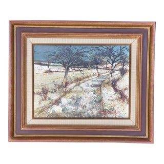 1960s French Winter Landscape Oil Painting by François Chanteclair, Framed For Sale