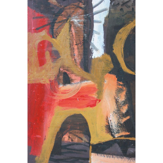 This 1950s oil on paperboard abstract is by Bay Area painter, printmaker, and designer Calvin Anderson (b. 1925). He...