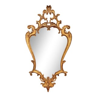 Early 20th Century Italian Rococo Carved Giltwood Wall Mirror For Sale