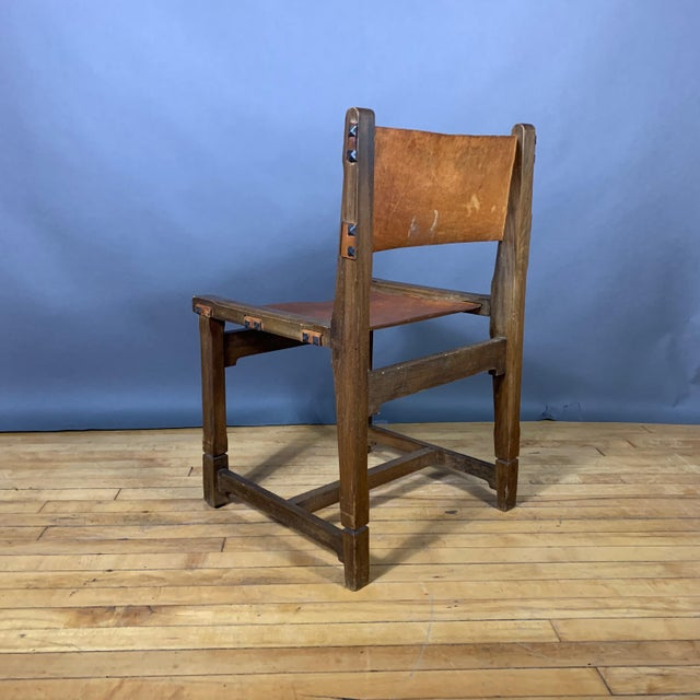 Four French 1940s Saddle Leather & Oak Dining Chairs For Sale - Image 10 of 13