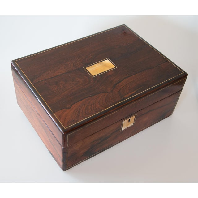 English Traditional 19th-Century English Rosewood Box, Lock & Key For Sale - Image 3 of 10