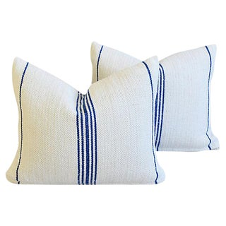 French Blue Stripe Farmhouse Feather/Down Pillows - Pair
