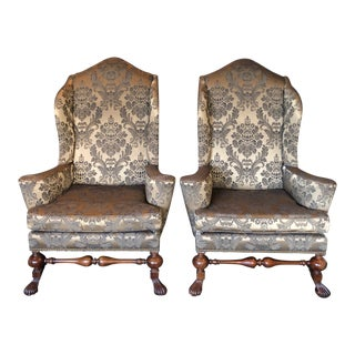 1990s Vintage Baker Furniture Stately Homes Collection Wingback Chairs- a Pair For Sale