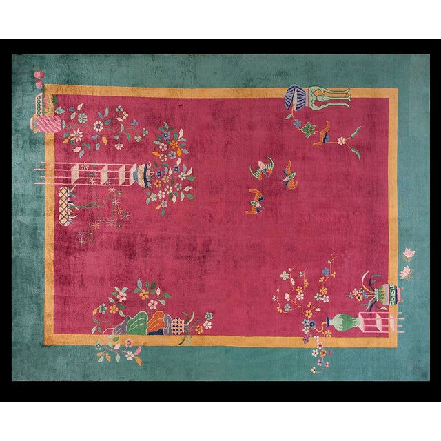 """Pink Chinese Art Deco Pink Rug - 8'9""""x11'4"""" For Sale - Image 8 of 8"""