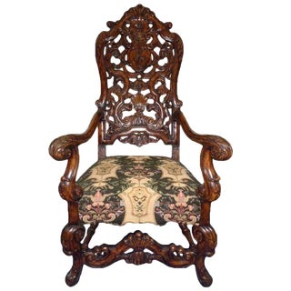 Charles Pollock for William Switzer Carved Italian Throne Chair For Sale