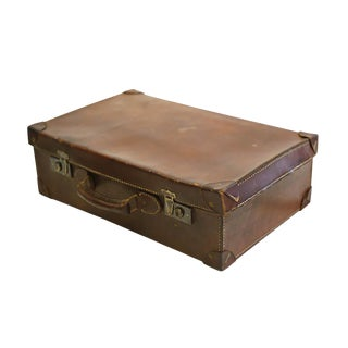 Early 20th C. All Leather and Brass Suitcase C. 1940s