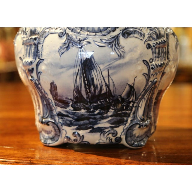 Large 19th Century Dutch Hand-Painted Blue and White Ceramic Delft Cachepot For Sale In Dallas - Image 6 of 10