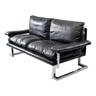 Tim Bates for Pieff & Co Black Leather and Chrome Sofa For Sale