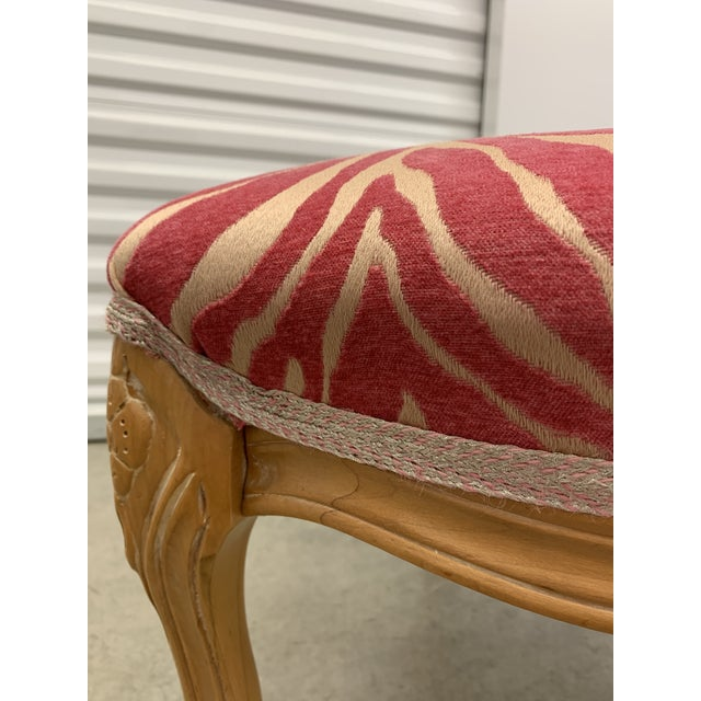 1980s French Carved Stool With Pink Zebra Print Fabric For Sale - Image 5 of 13