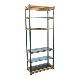 Vintage Chrome & Bamboo Etagere Display Shelf
