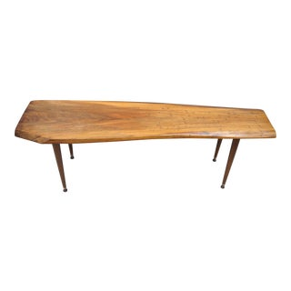 Mid-Century Modern Walnut Slab Free Form Live Edge Surfboard Coffee Table