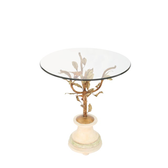 Gilded Iron Occasional Table with Glass Top For Sale