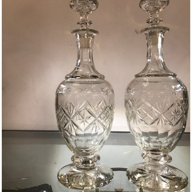 Glass 19th Century European Cut Glass Claret Decanters - a Pair For Sale - Image 7 of 10