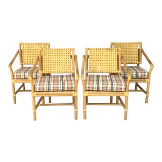Rattan Bamboo Dining Armchairs by Brown Jordan For Sale