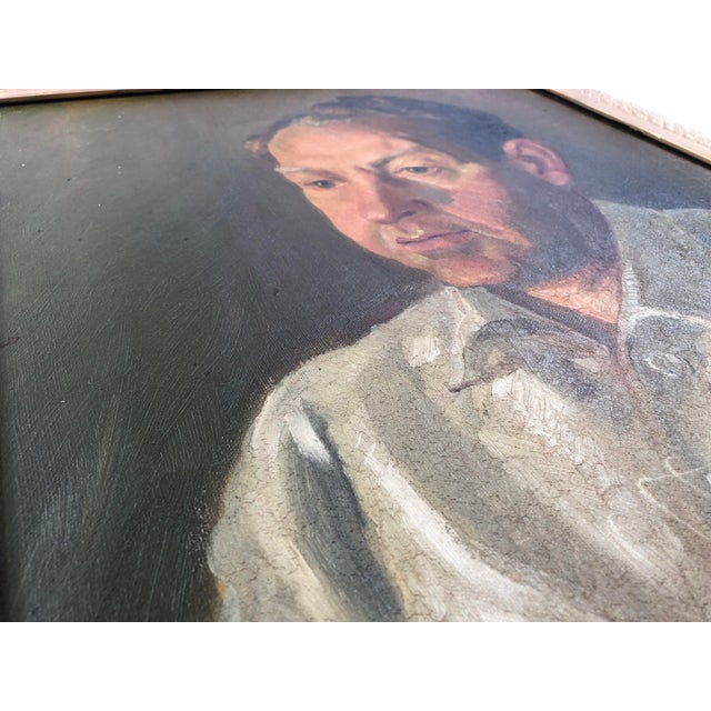 1940s Vintage Portrait of a Man in White Shirt Oil on Canvas Painting For Sale - Image 9 of 12